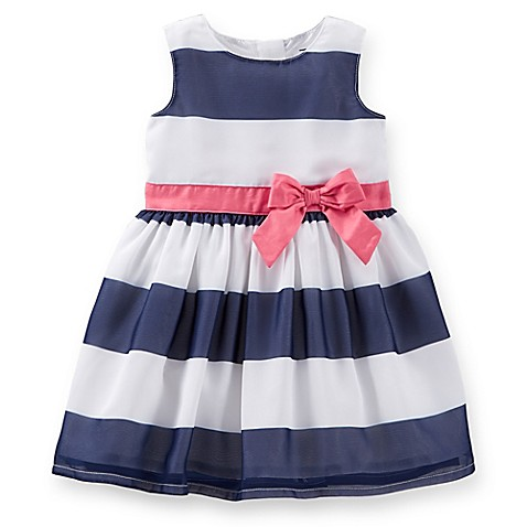 Carter s 2 Piece Crepe Striped Dress and Diaper Cover Set