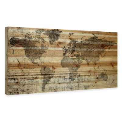 "Parvez Taj ""World Travel"" 40-Inch x 20-Inch Wood Art"