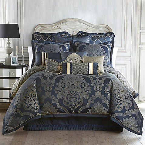 Waterford linens vaughn reversible comforter set in navy for Blue and gold bathroom sets