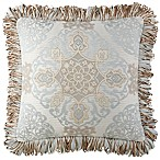 Waterford® Linens Jonet Fringe Square Throw Pillow in Cream/Blue