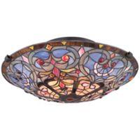 Quoizel Tiffany Carrol 2-Light Flush-Mount Ceiling Fixture in Bronze