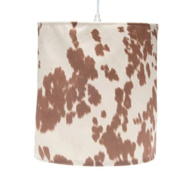 Glenna Jean Hy Trails Hanging Cow Print Drum Shade Kit In Brown Cream