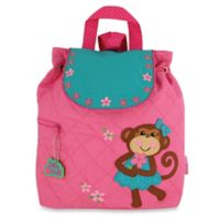 Stephen Joseph Monkey Quilted Backpack in Pink