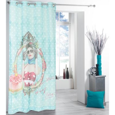 tag city glamour girl printed sheer window curtain panel