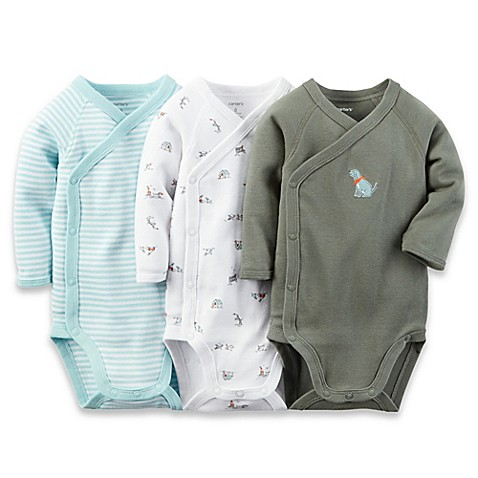 carter's® Preemie 3-Pack Side Snap/Dog Long Sleeve Bodysuits in Blue/White/Olive