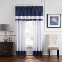 Aloura Embroidered Rod Pocket 84-Inch Window Curtain Panel Pair in White/Blue