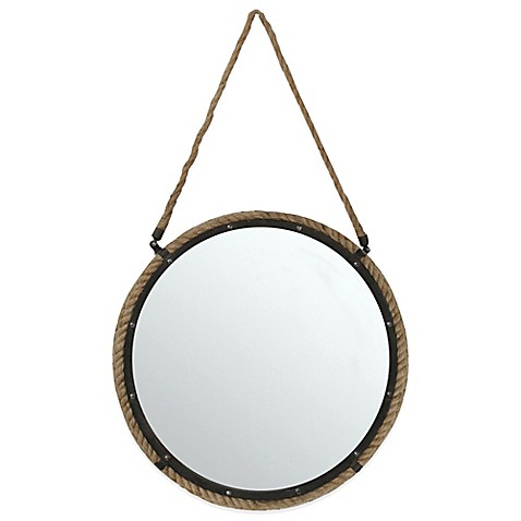 buy 20 inch round rope mirror in brown from bed bath beyond. Black Bedroom Furniture Sets. Home Design Ideas