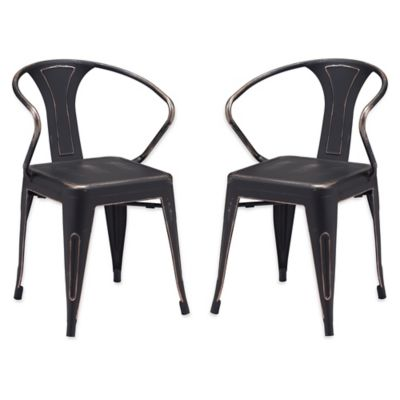 ZuoR Helix Dining Chairs In Antique Black Gold Set Of 2