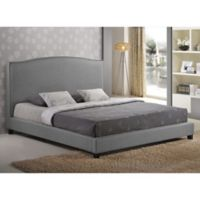 Baxton Studio Aisling King Fabric Platform Bed with Headboard in Grey