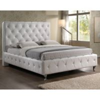 Baxton Studio Stella Queen Crystal Tufted Bed with Headboard in White