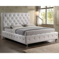 Baxton Studio Stella King Crystal Tufted Bed with Headboard in White