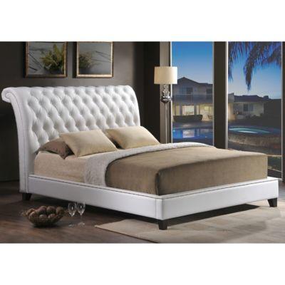 Baxton Studio Jazmin Queen Tufted Platform Bed With Headboard In White