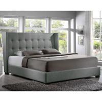 Baxton Studio Favela Queen Linen Platform Bed with Headboard in Grey