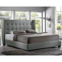 Baxton Studio Favela King Linen Platform Bed with Headboard in Grey