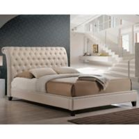 Baxton Studio Jazmin King Tufted Modern Platform Bed with Headboard in Light Beige
