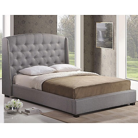 Baxton Studio Ipswich Linen Platform Bed With Headboard Bed Bath Beyond