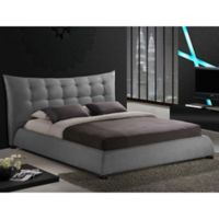 Baxton Studio Marguerite King Linen Platform Bed with Headboard in Grey