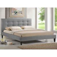Baxton Studio Quincy Linen King Platform Bed in Grey