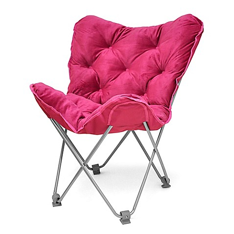 Tufted Folding Butterfly Chair In Fuchsia