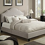 Pulaski All-N-One Fully Upholstered Nail Head Queen Saddle Bed in Taupe