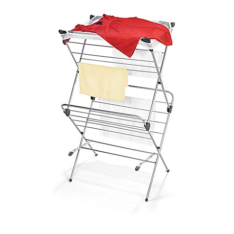 Two Tier Clothes Drying Rack With Mesh Cover Bed Bath