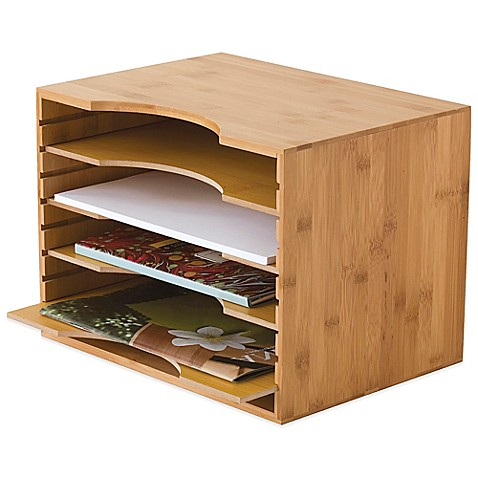 Lipper Bamboo File Organizer With 4 Dividers In Natural