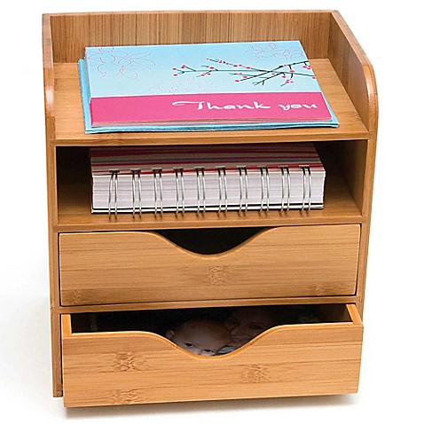 Lipper 4 Tier Bamboo Desk Organizer In Natural Bed Bath