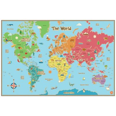 Kidsu0027 Dry Erase World Map Wall Decal
