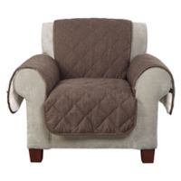 Sure Fit® Reversible Flannel and Sherpa Chair Furniture Cover in Chocolate