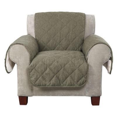 Sure Fit® Reversible Flannel And Sherpa Chair Furniture Cover In Loden