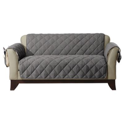 Sure Fit® Reversible Flannel And Sherpa Loveseat Furniture Cover In Grey Part 93
