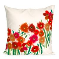 Liora Manne Poppies 20-Inch x 20-Inch Outdoor Throw Pillow in Red