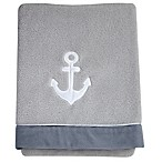 Nautica Kids® Mix & Match Velboa Anchor Blanket in Grey