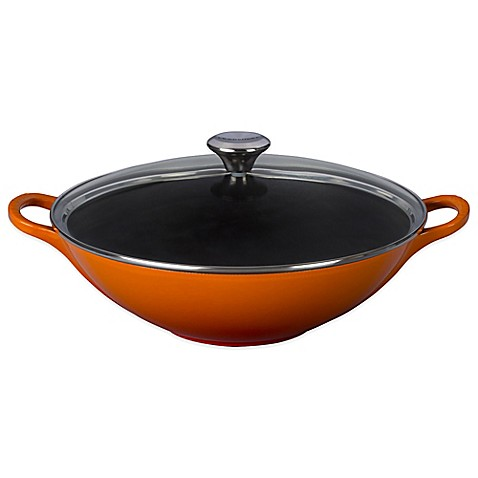 buy le creuset 16 5 inch signature wok with glass lid in. Black Bedroom Furniture Sets. Home Design Ideas