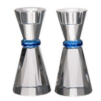 Blue Band Crystal Candlesticks (Set of 2)