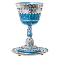 Capri Blue Jeweled Enamel Kiddush Cup and Tray