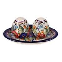 Pottery Avenue Butterfly Merry Making Salt and Pepper Shakers with Tray