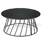 Boston International Small Bites Round Slate 2-Piece Elevated Serving Set in Black