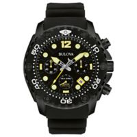 Bulova Sea King 46.5mm Chronograph Black Dial Watch in Black Stainless Steel with Silicone Strap