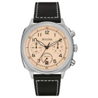 Bulova Military Men's 42.5mm Chronograph Ivory Dial Watch in Stainless Steel with Black Leather Band
