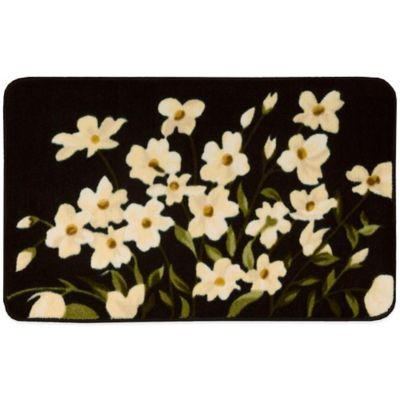 Nourison 20 Inch X 30 Inch Floral Kitchen Rug In Black