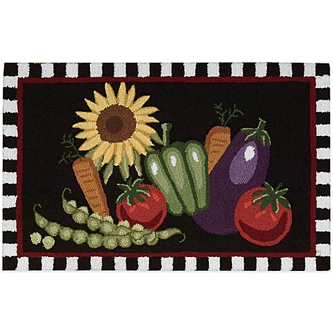 Delightful Nourison Vegetables 33 Inch X 20 Inch Kitchen Rug In Black Nice Look