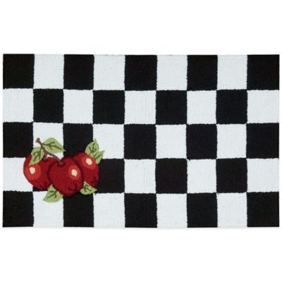 Perfect Nourison Apple 33 Inch X 20 Inch Kitchen Rug In Black/White