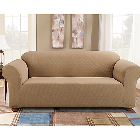 Sure Fit® Simple Stretch Subway Tile 1 Piece Sofa Slipcover