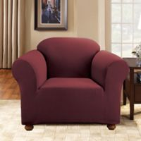 Sure Fit® Simple Stretch Subway Tile 1-Piece Chair Slipcover in Burgundy