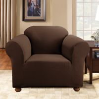 Sure Fit® Simple Stretch Subway Tile 1-Piece Chair Slipcover in Chocolate