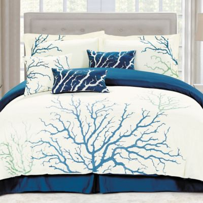 panama jack coral queen comforter set in blue