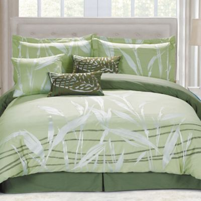 panama jack pampas queen comforter set in green