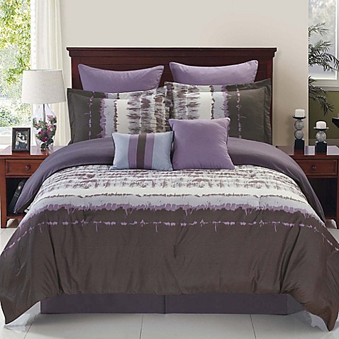 Hudson Reversible Comforter Set In Purple Grey Bed Bath