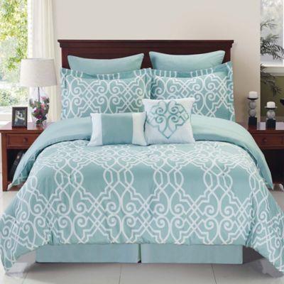 dawson reversible 8piece full comforter set in bluewhite